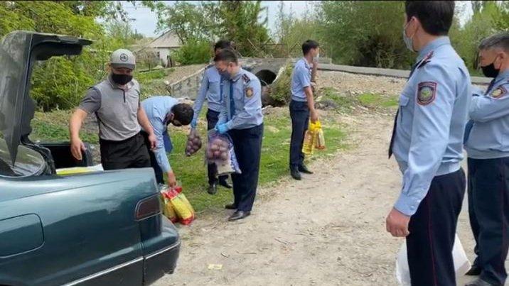 Полицейские Алматинской области навестили пенсионеров и многодетные семьи, фото-1